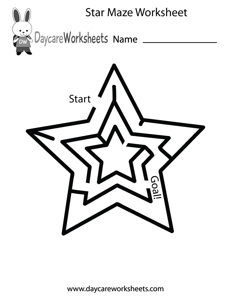 Preschool Star Maze Worksheet Printable