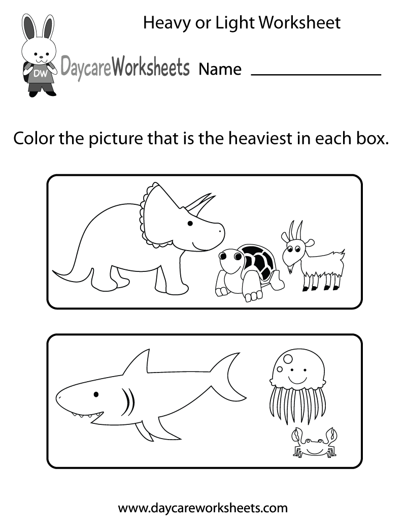 Preschool Heavy or Light Worksheet Printable