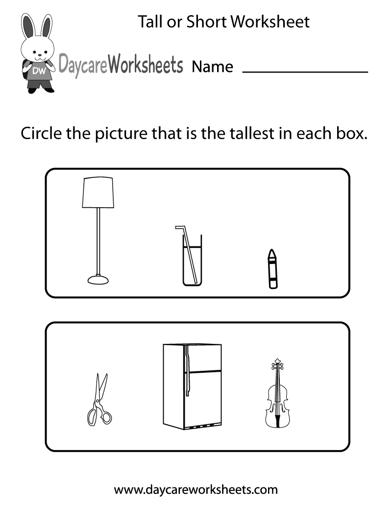 Free Preschool Tall or Short Worksheet