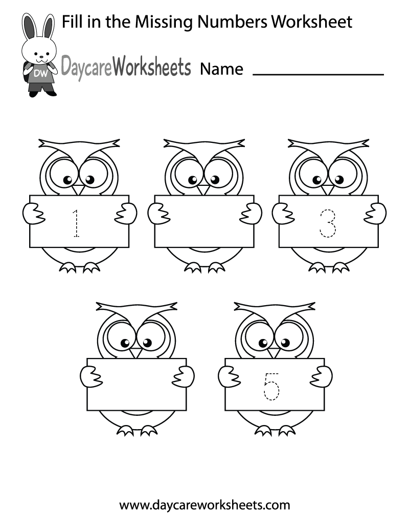 worksheet Free Nursery Worksheets free preschool fill in the numbers worksheet missing printable