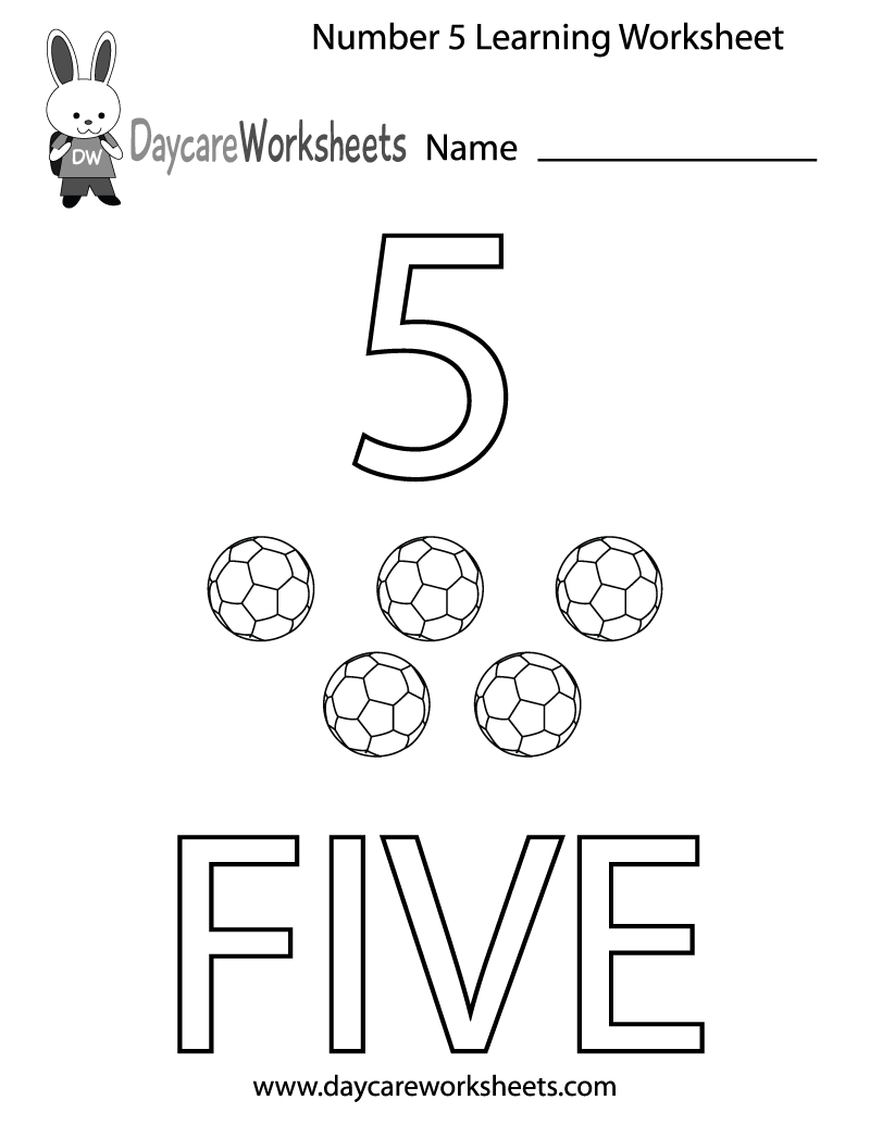 Free Preschool Number Five Learning Worksheet