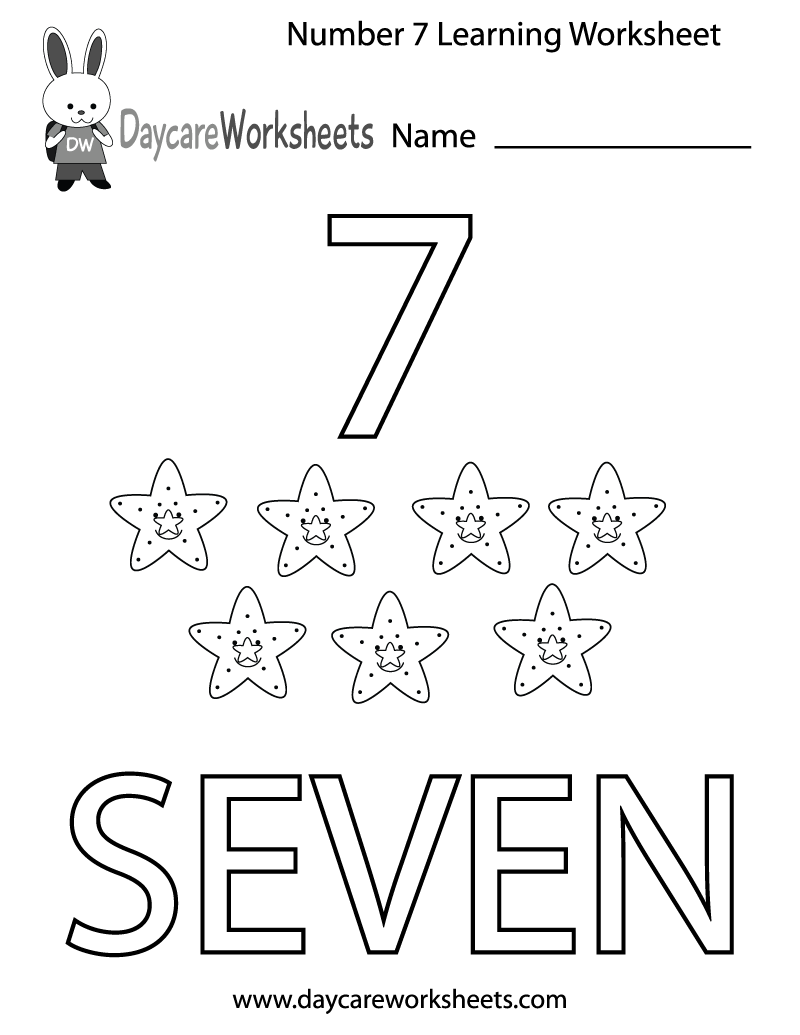 Preschool Number Seven Learning Worksheet Printable