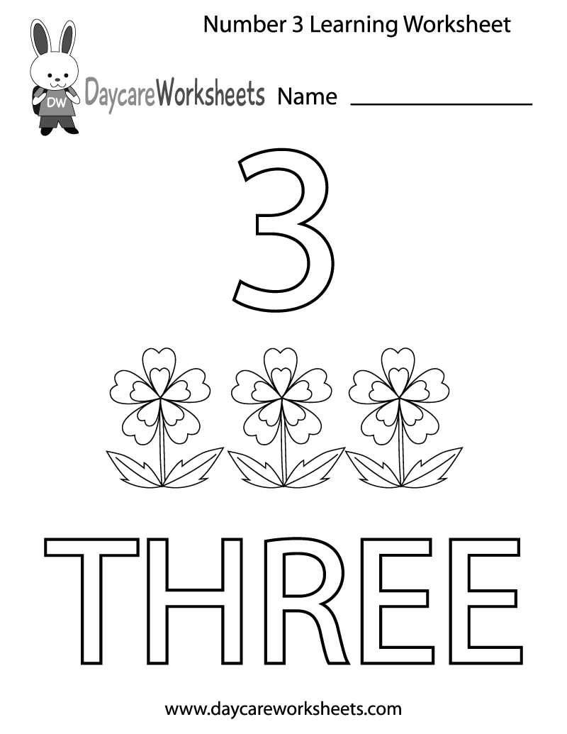 Preschool Number Three Learning Worksheet Printable