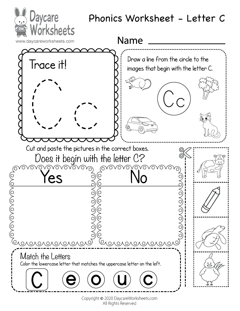 Preschool Beginning Sounds Letter C Phonics Worksheet Printable
