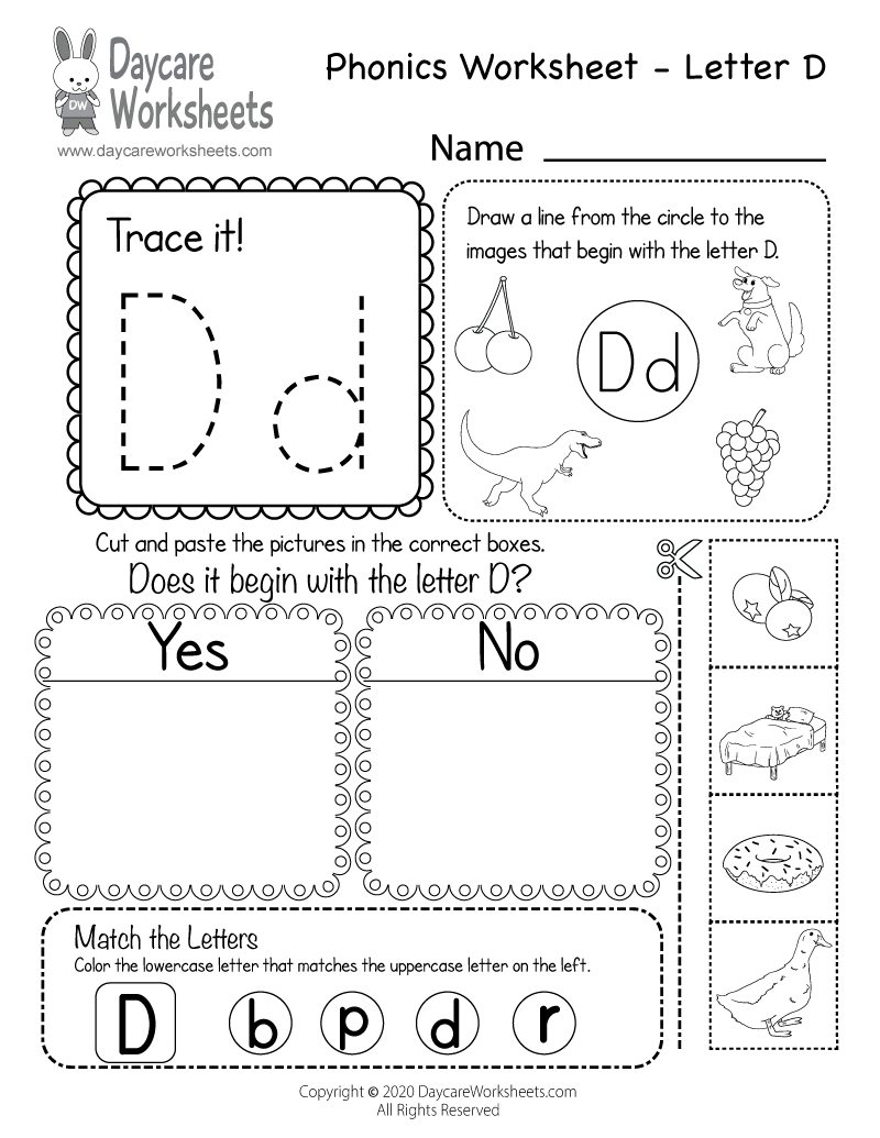 Preschool Beginning Sounds Letter D Phonics Worksheet Printable