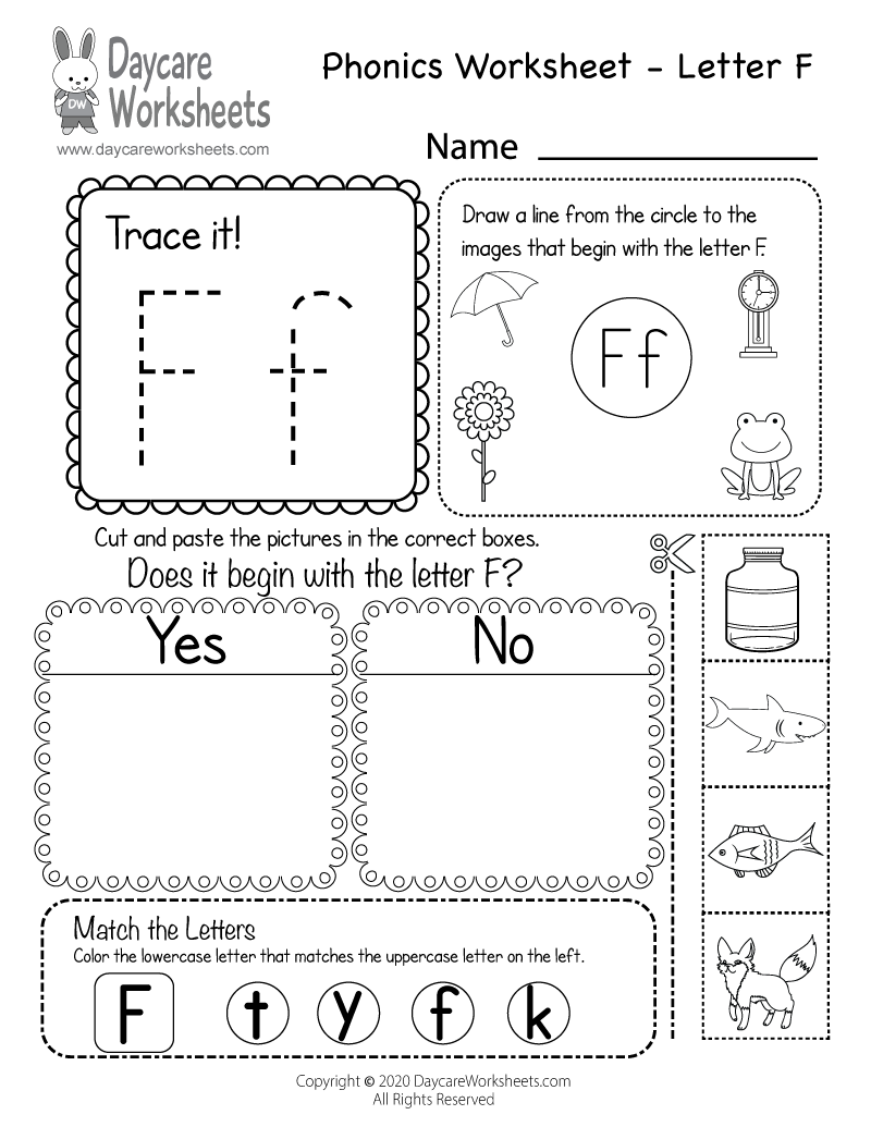 Free Beginning Sounds Letter F Phonics Worksheet for Preschool