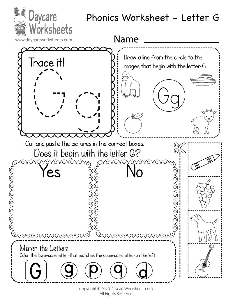 Preschool Beginning Sounds Letter G Phonics Worksheet Printable