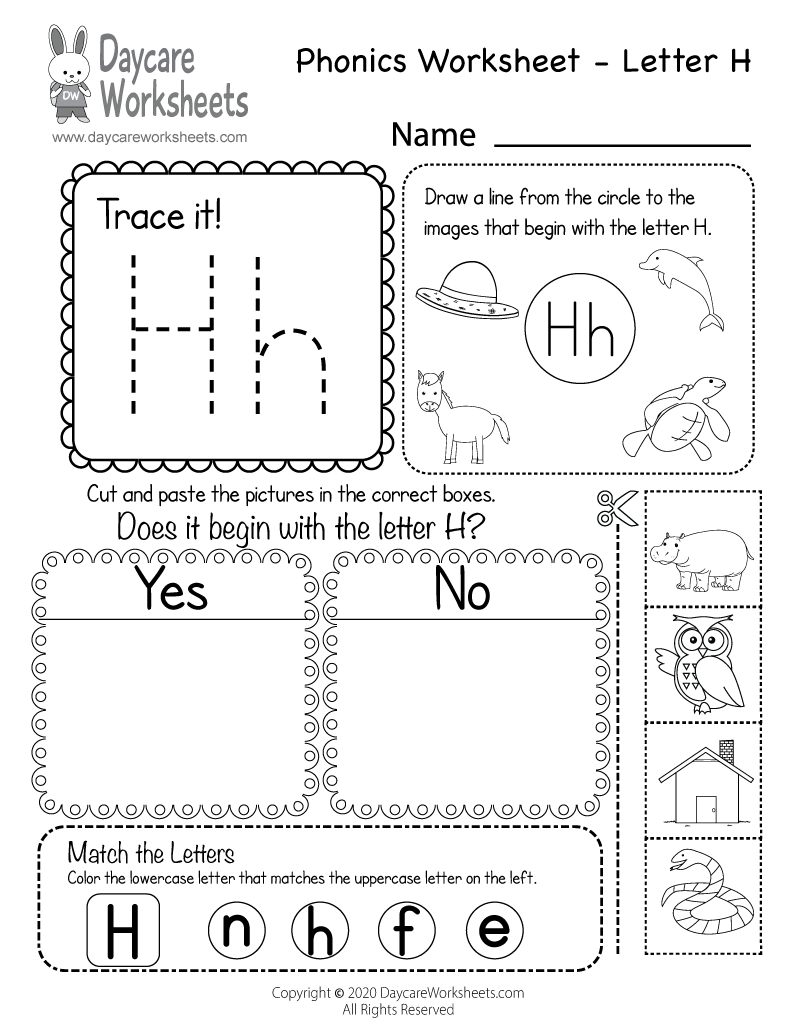 Preschool Beginning Sounds Letter H Phonics Worksheet Printable