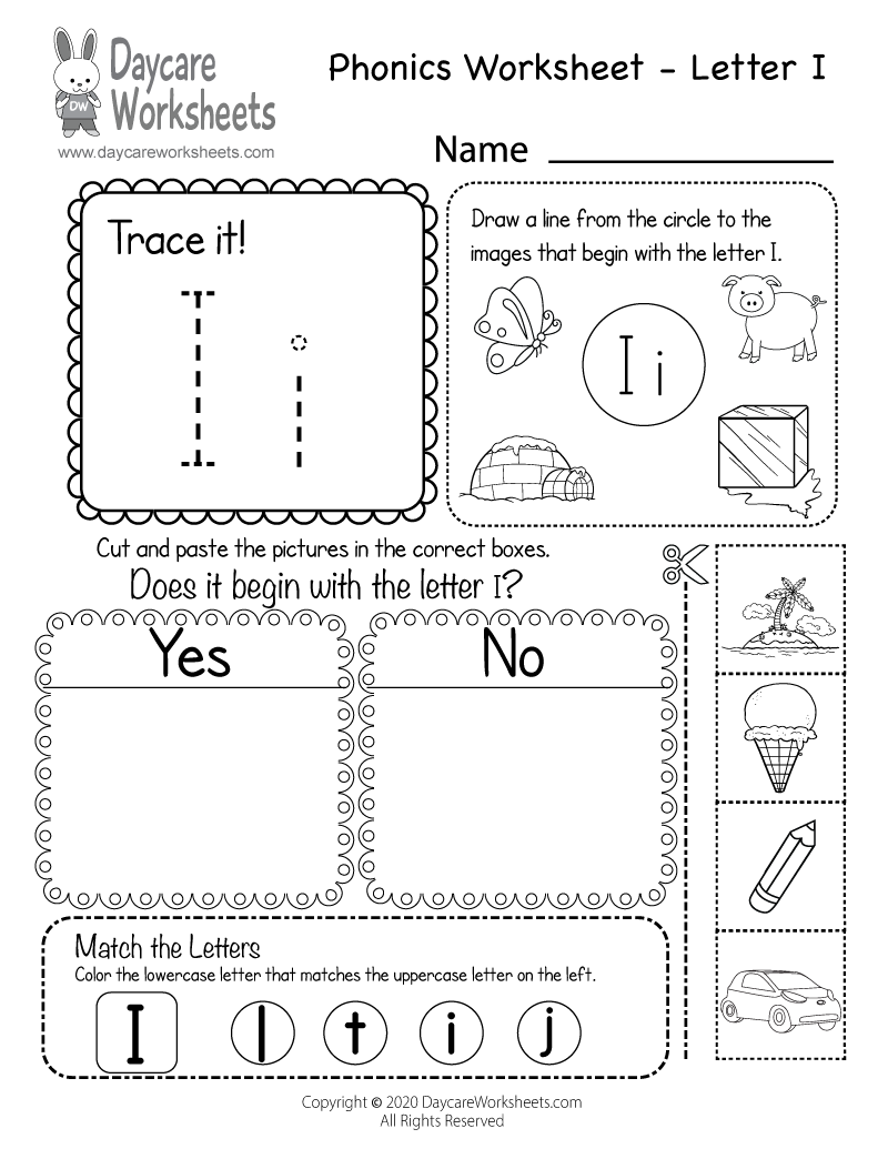 free beginning sounds letter i phonics worksheet for preschool. Black Bedroom Furniture Sets. Home Design Ideas