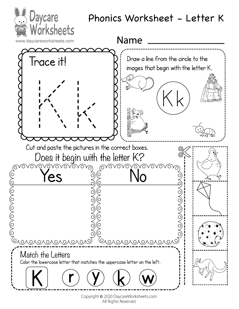 Preschool Beginning Sounds Letter K Phonics Worksheet Printable