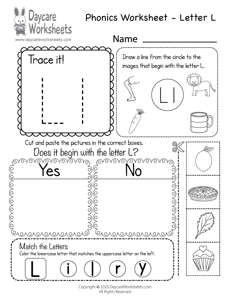 Free Beginning Sounds Letter L Phonics Worksheet for Preschool