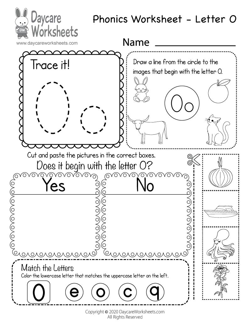 Preschool Beginning Sounds Letter O Phonics Worksheet Printable