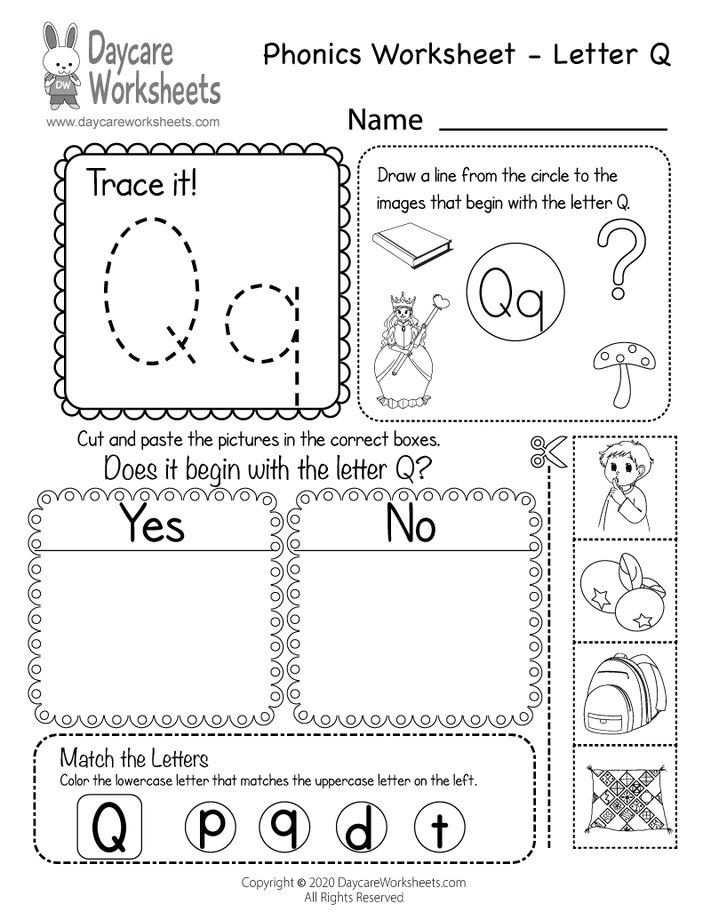 Preschool Beginning Sounds Letter Q Phonics Worksheet Printable