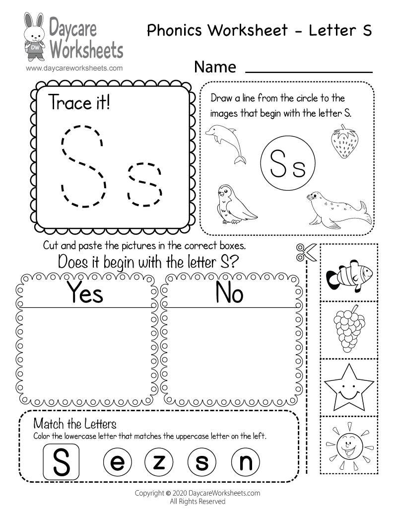 Free Beginning Sounds Letter S Phonics Worksheet for Preschool