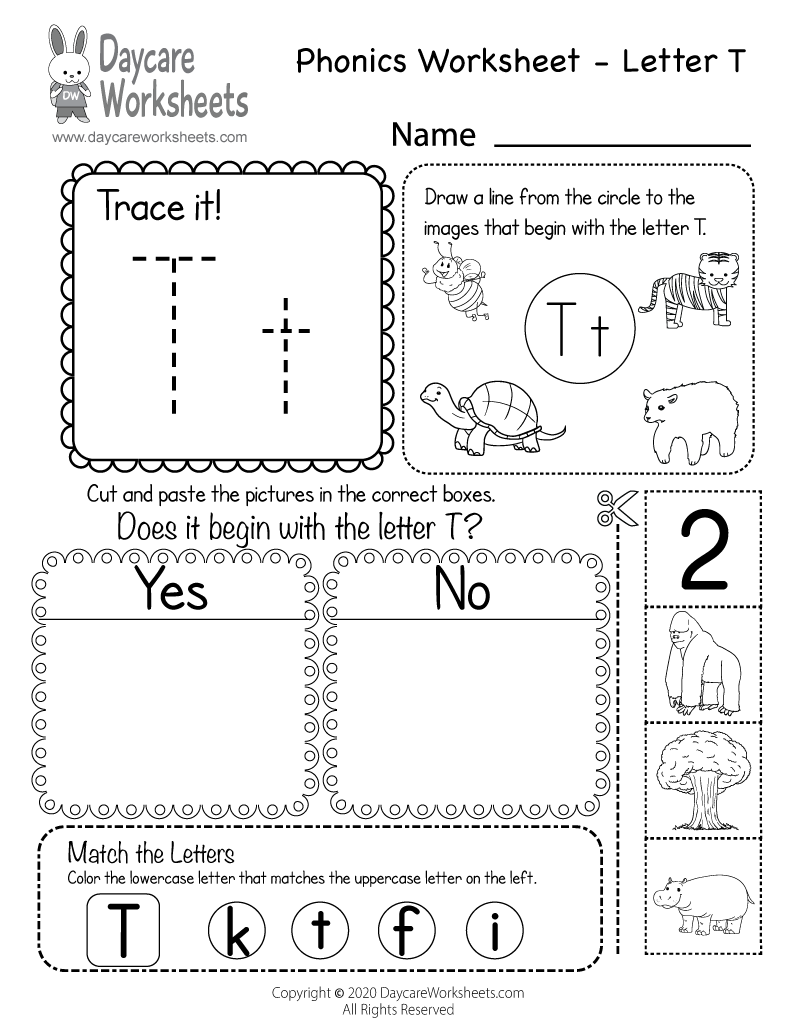 Free Beginning Sounds Letter T Phonics Worksheet for Preschool