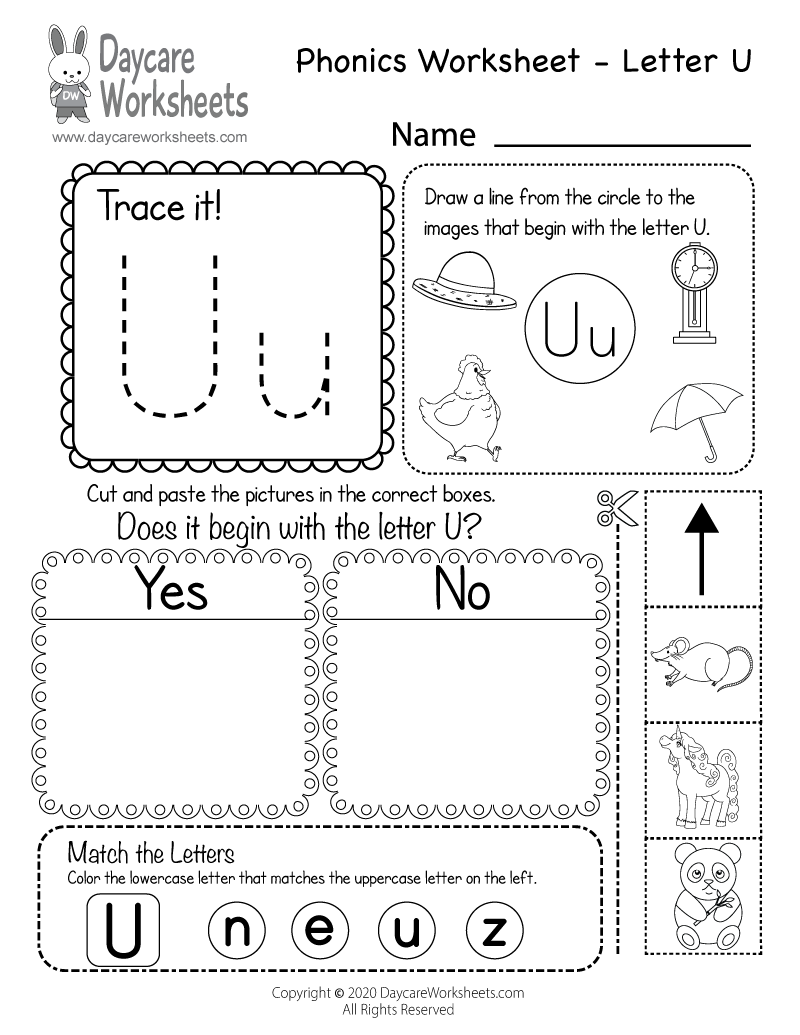 Preschool Beginning Sounds Letter U Phonics Worksheet Printable