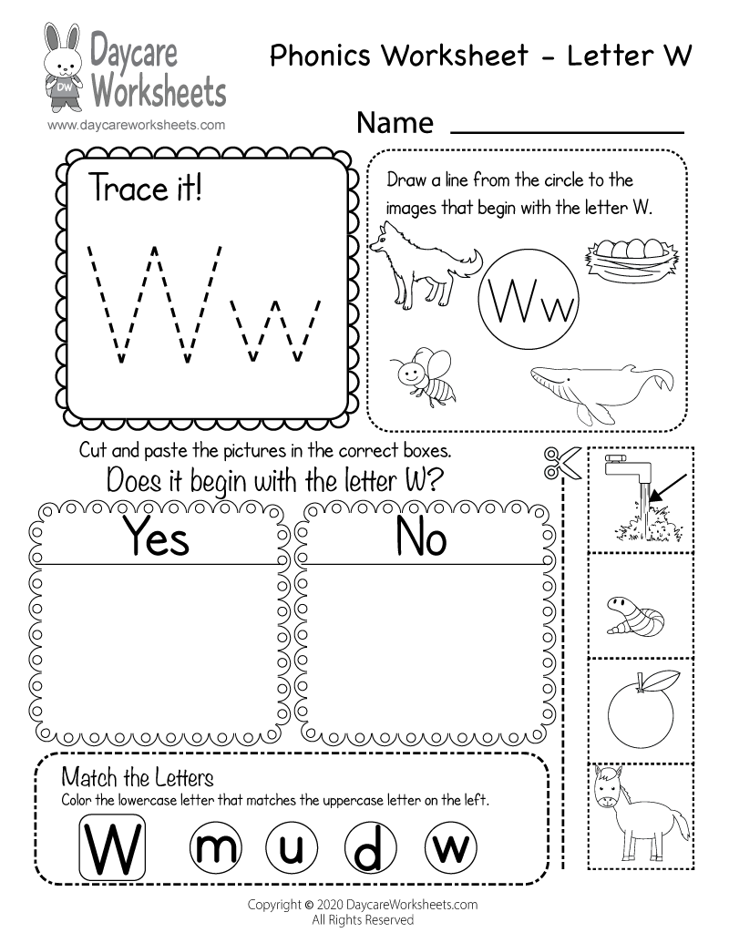 Preschool Beginning Sounds Letter W Phonics Worksheet Printable