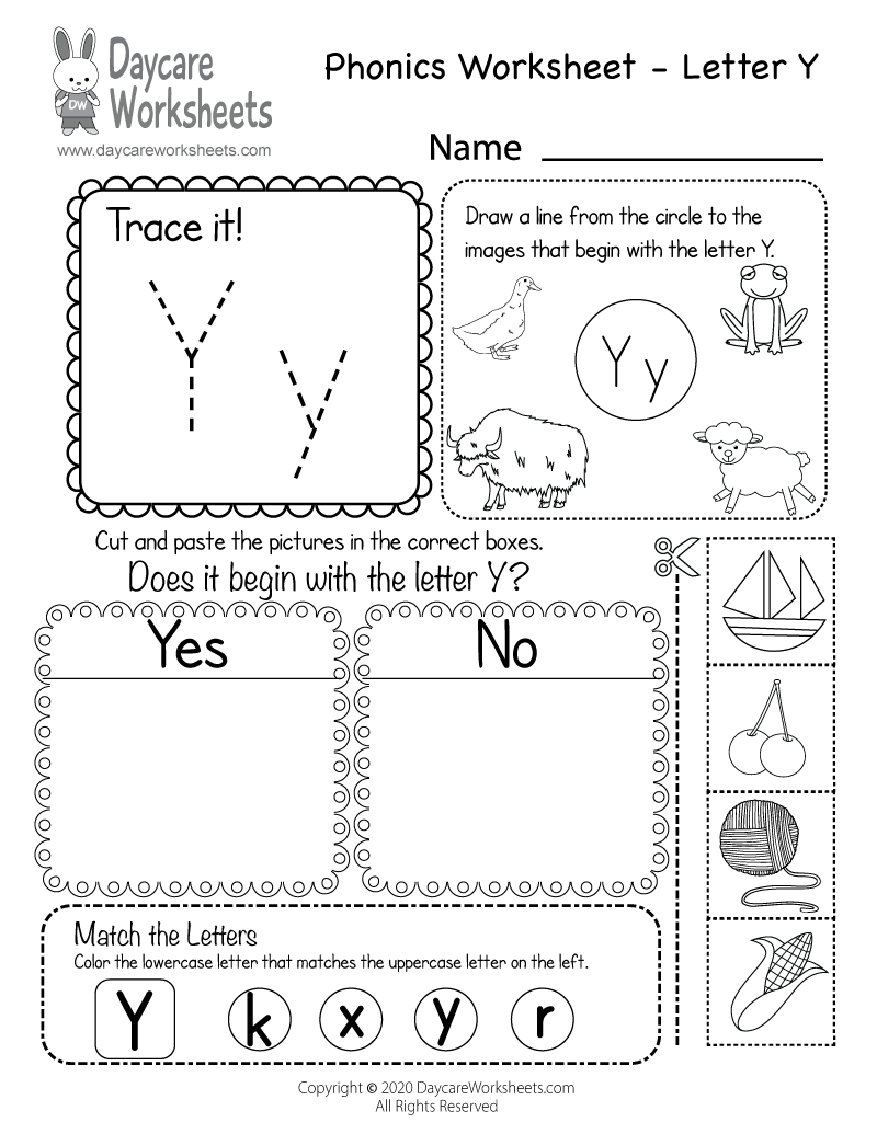 Preschool Beginning Sounds Letter Y Phonics Worksheet Printable
