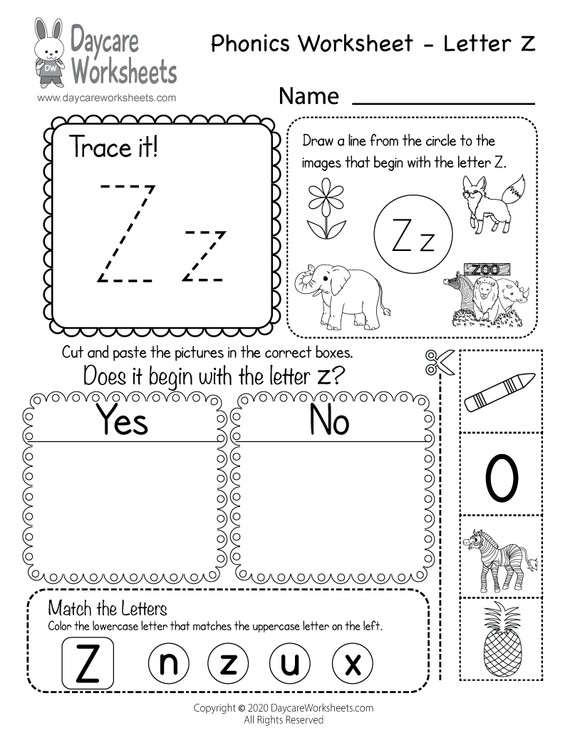 Preschool Beginning Sounds Letter Z Phonics Worksheet Printable