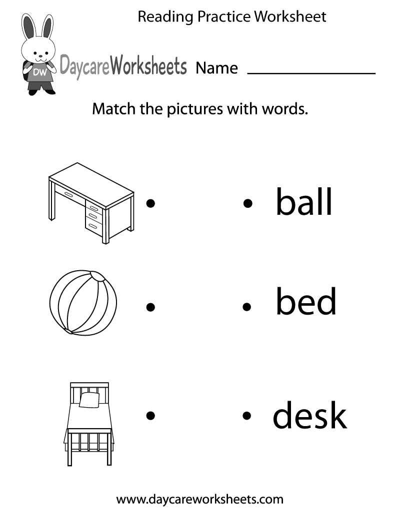 Free Reading Practice Worksheet For Preschool