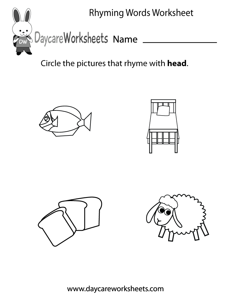 Preschool Rhyming Practice Worksheet Printable