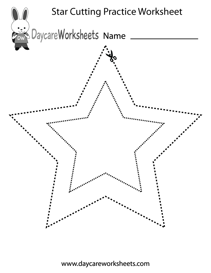 Free preschool star cutting practice worksheet