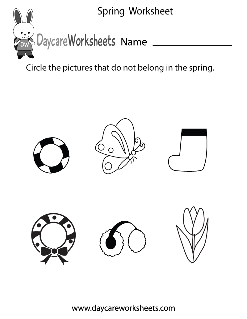 Free Printable Spring Worksheet for Preschool