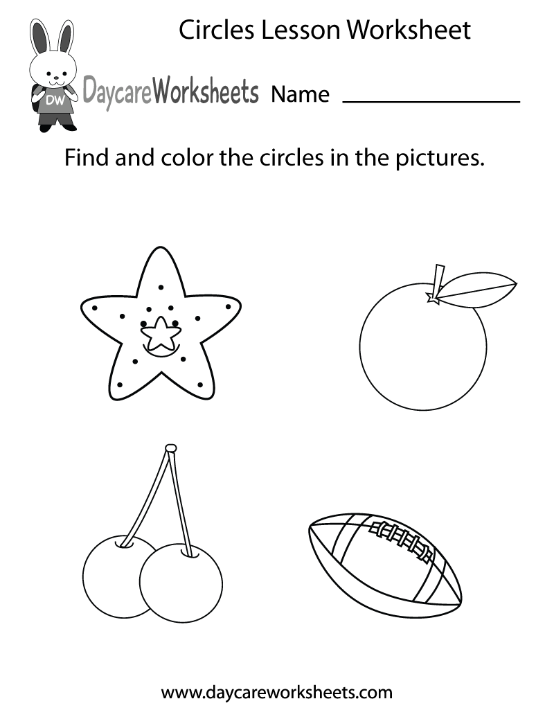 Preschool Circles Lesson Worksheet Printable