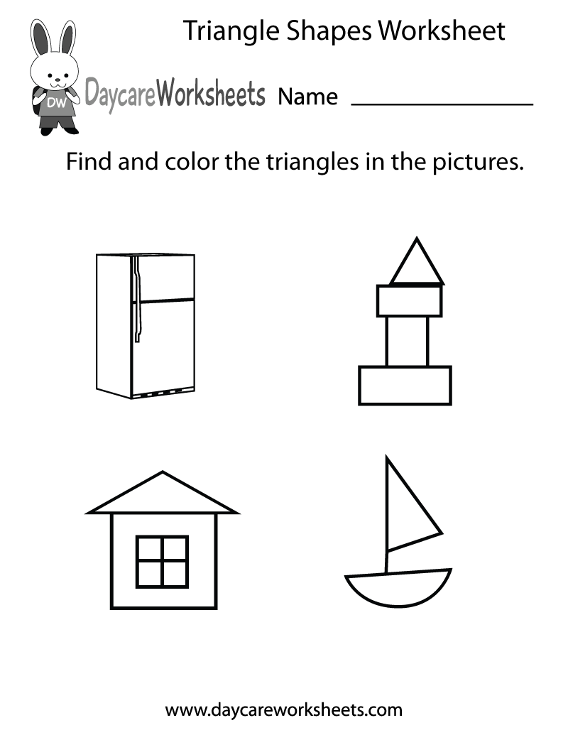 free triangle shapes worksheet for preschool. Black Bedroom Furniture Sets. Home Design Ideas