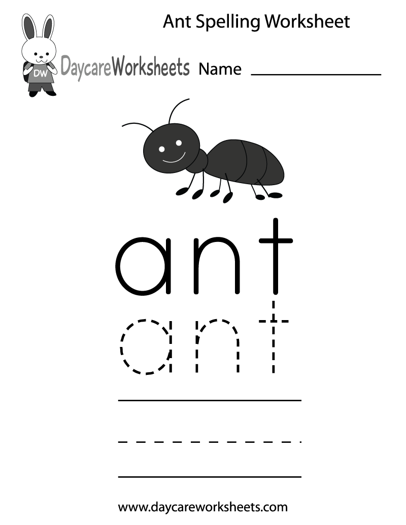 Preschool Ant Spelling Worksheet Printable