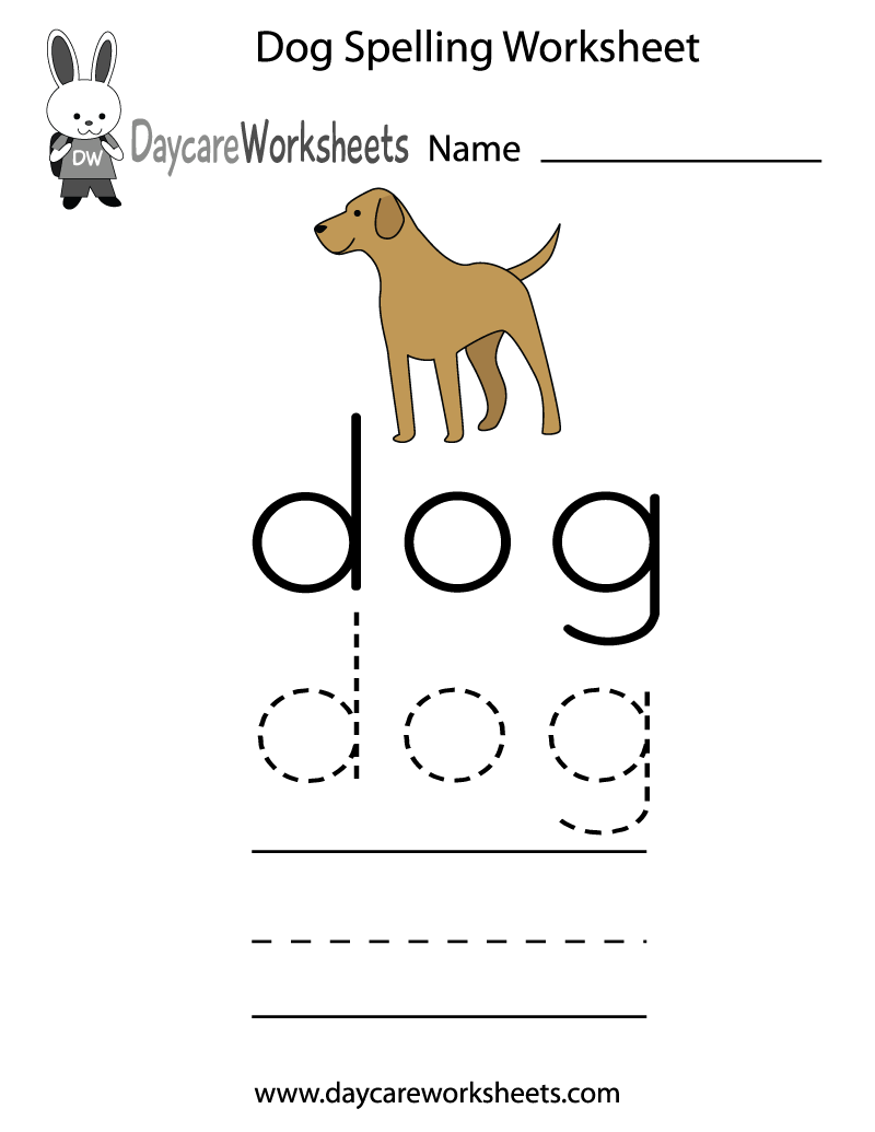 free preschool dog spelling worksheet. Black Bedroom Furniture Sets. Home Design Ideas