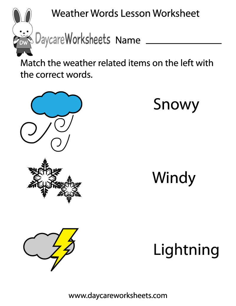 Preschool Weather Words Lesson Worksheet Printable