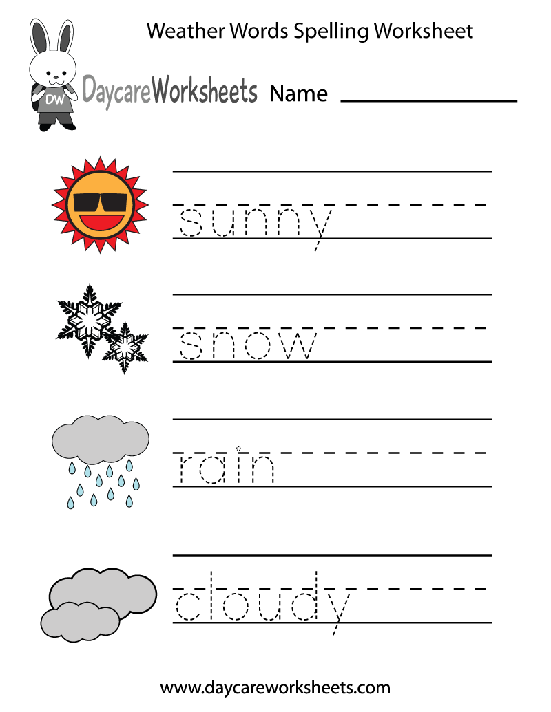 Free Preschool Weather Words Spelling Worksheet – Weather Worksheets for Kids