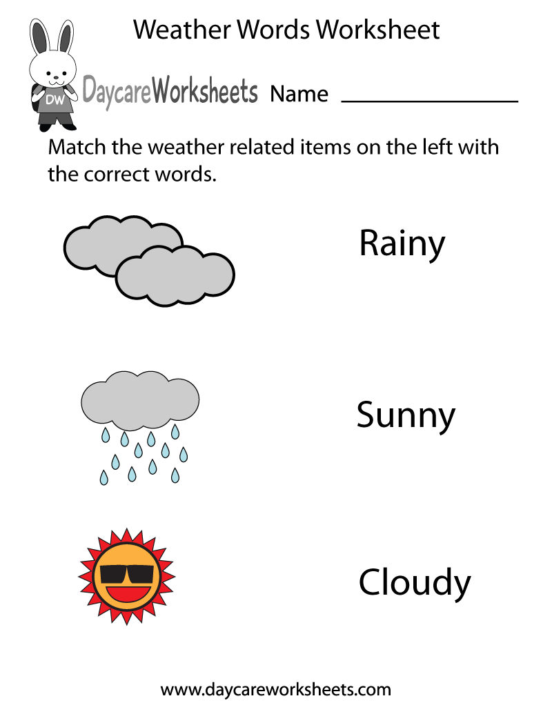 Preschool Weather Words Worksheet Printable