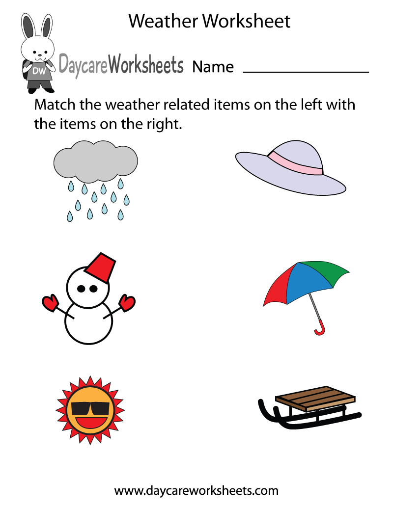 Free Preschool Weather Worksheet – Weather Worksheets for Kids
