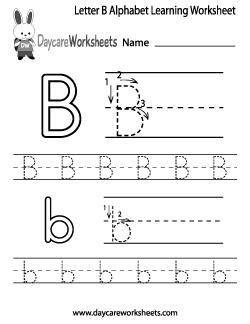 Preschool Letter B Alphabet Learning Worksheet