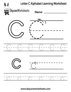 Preschool Letter C Alphabet Learning Worksheet