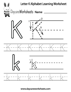 Preschool Letter K Alphabet Learning Worksheet