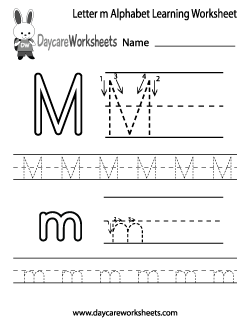 Preschool Letter M Alphabet Learning Worksheet
