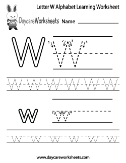 Preschool Letter W Alphabet Learning Worksheet