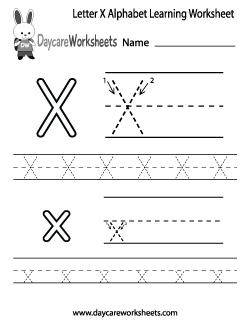 Preschool Letter X Alphabet Learning Worksheet