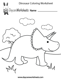 Preschool Dinosaur Coloring Worksheet