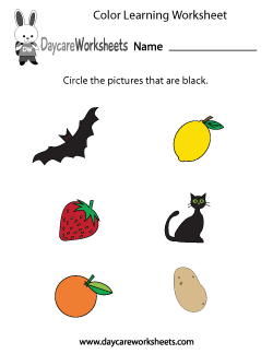 Preschool Color Learning Worksheet