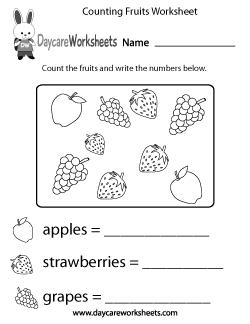 Preschool Counting Fruits Worksheet