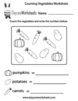 Preschool Counting Vegetables Worksheet