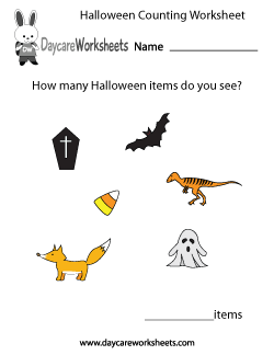 Preschool Halloween Counting Worksheet