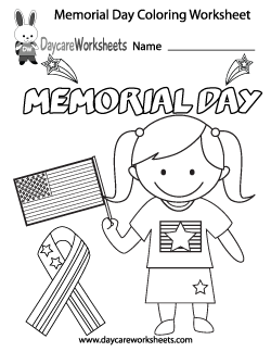 Preschool Memorial Day Coloring Worksheet