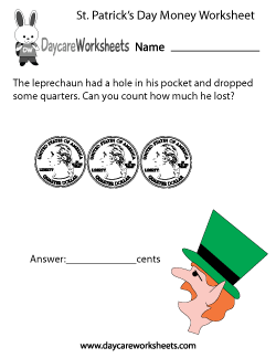 Preschool St. Patrick's Day Money Worksheet