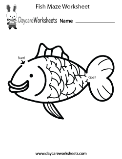 Preschool Fish Maze Worksheet