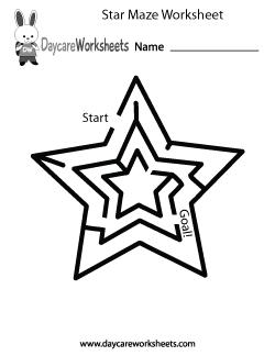 Preschool Star Maze Worksheet